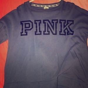 "Blue Sweatshirt w/ ""Pink"" logo"